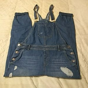 Forever 21 Plus Long Blue Jean Overalls.